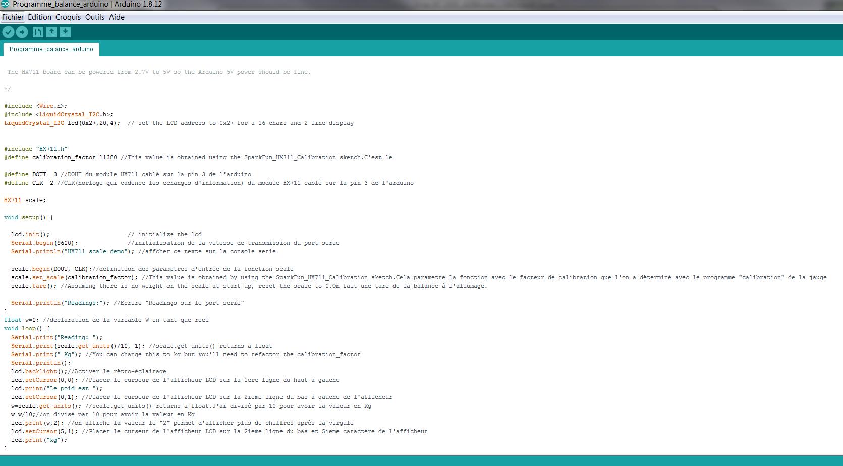 Programme Arduino Balance